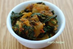 Spinach Potato Fenugreek Stir Fry (Palak Alu Methi)