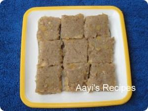 Finger Millet Sweetdish (Nanchne Duddalli / Ragi Manni / Ragi Halubayi) With Coconut