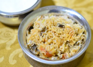 Eggplant Rice (Vangi Bhath) with Garam Masala