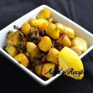 Spicy Bittergourd-Potato Fry (Karathe Batate Talasani)