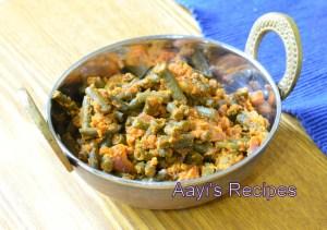 Long Beans-Coconut Sidedish (Valasangi Sukke / Alsande sukke)