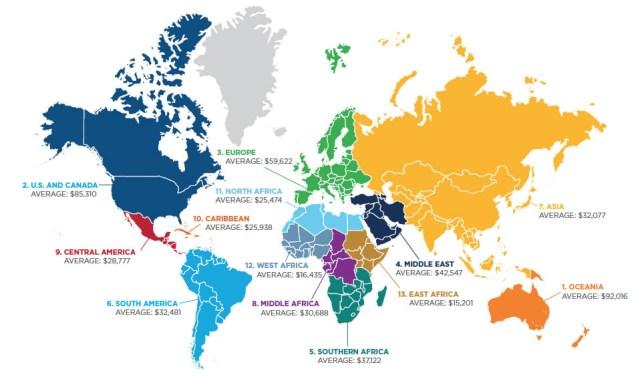 Salaires des professions IT par région du monde