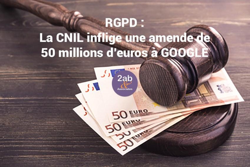 RGPD : La CNIL inflige une amende de 50 millions d'euros à GOOGLE