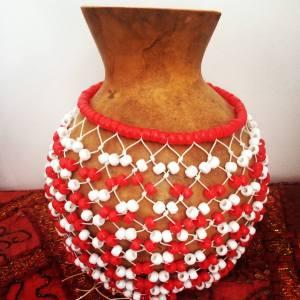 Shekere instrument red white
