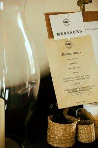 A sample menu at The Blackfly Lodge