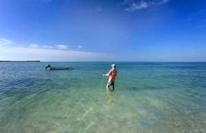 Fly fishing in front of Abaco Palms.