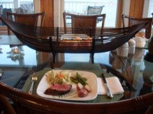 Beef tenderloin, red potatoes, and pineapple, walnut coleslaw