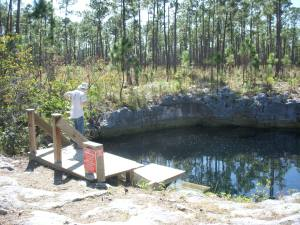 Daniel checking out Sawmill Sink - the Archaeological site that was the main hole explored and documented by National Geographic.