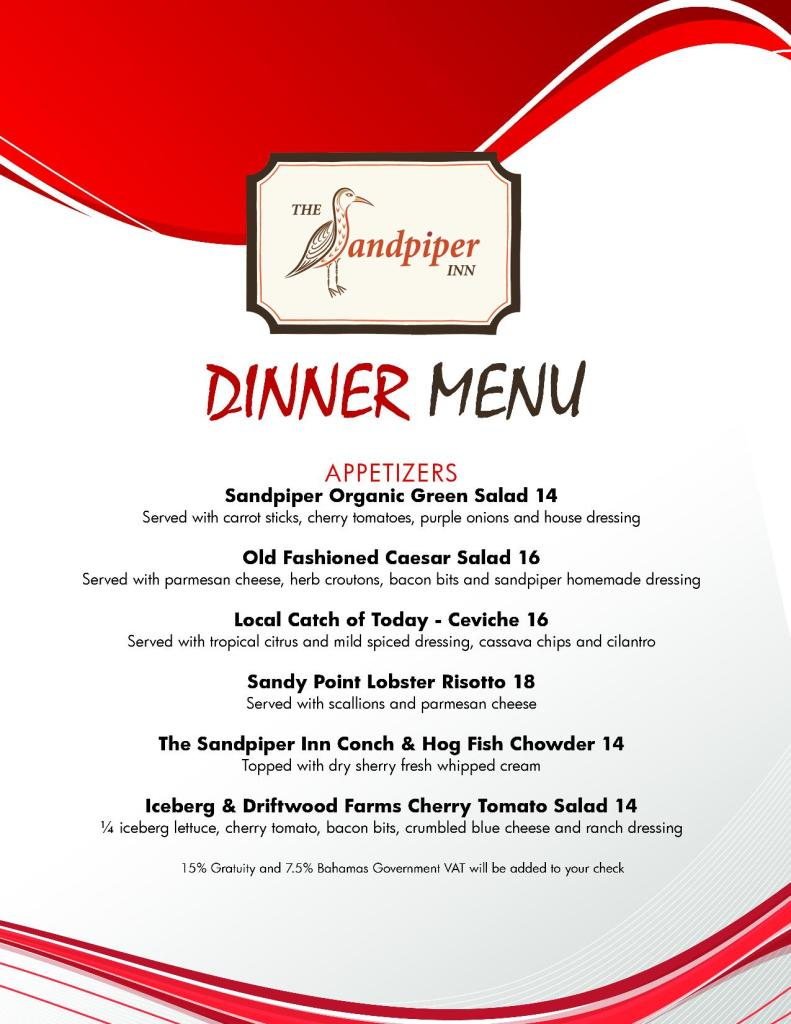 Sandpiper Dinner Menu - Page 1 - April 2016
