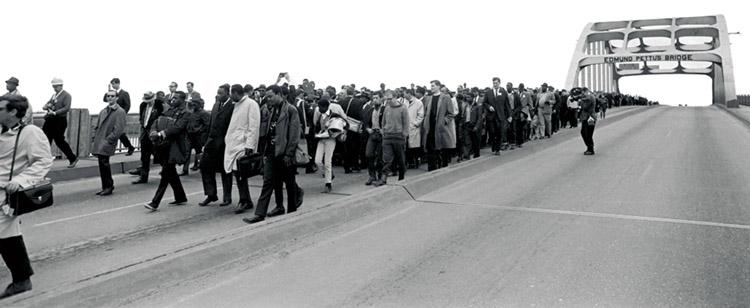 Marchers on Edmund Pettus Bridge