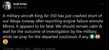 A plane crash has occurred in Abuja, it is fatal (Video)