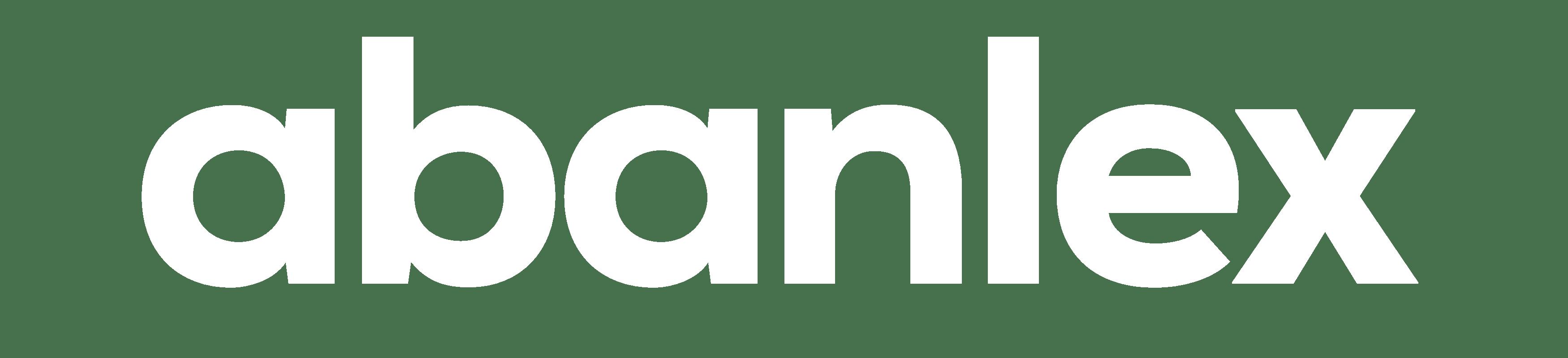 Logo Abanlex blanco con fondo transparente