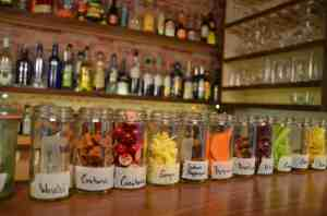 jars of ingredients for homemade bitters