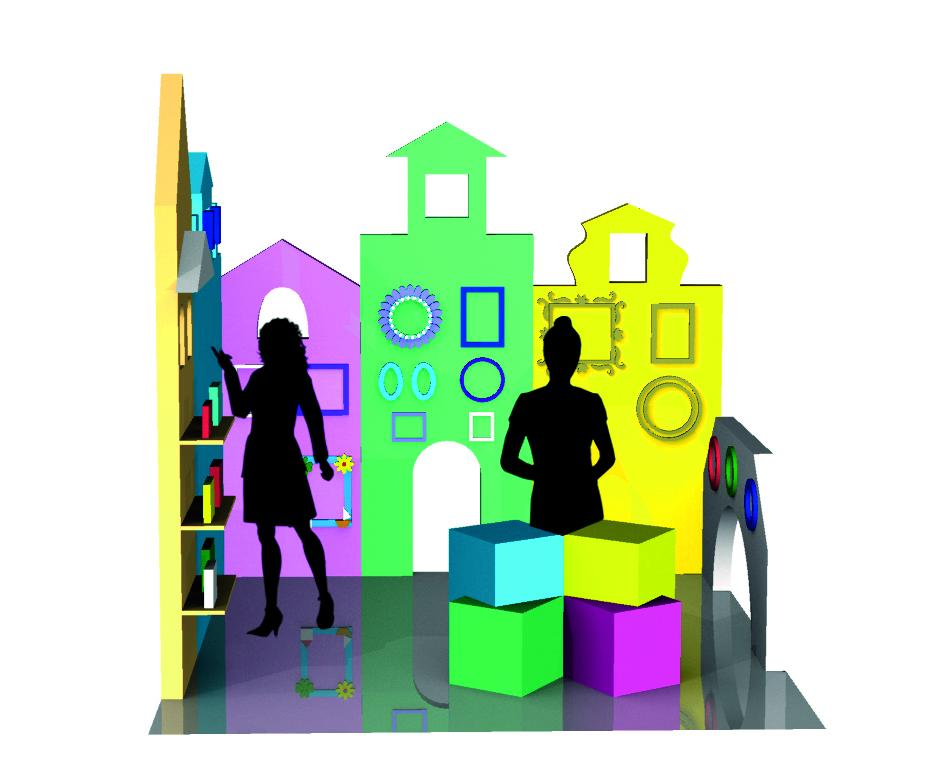 """Progettazione di uno stan fieristico legato ad un'azienda artigianale inventata """"Quadrarte"""" di Burano che progetta cornici"""