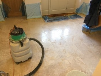 limestone floor honed to 1500 grit ready for light polishing with limestone polishing powder