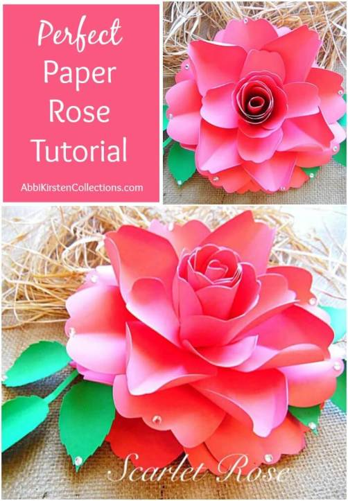 How to make paper roses. Easy paper rose tutorial. Flower templates.