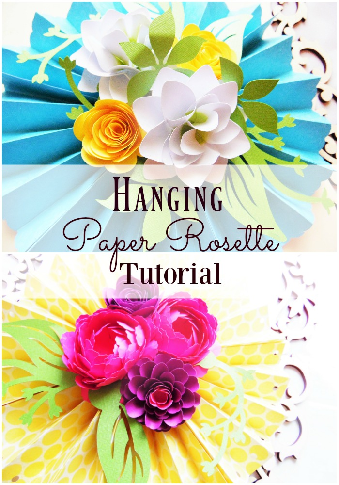 DIY Paper Rosette Hanging Fan with Decorative Paper Flowers
