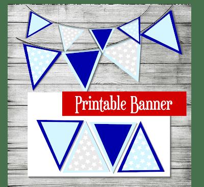 Printable Blue Star Birthday Banner