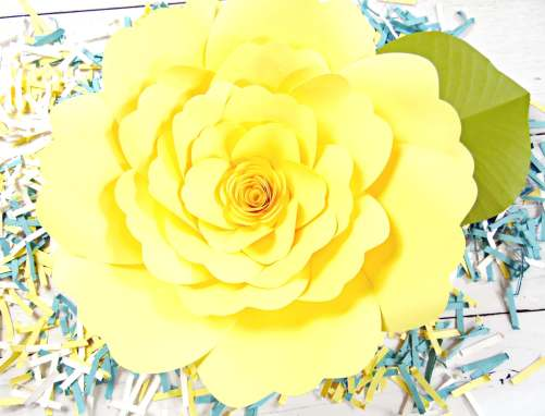 Yellow Charlotte style paper flower template