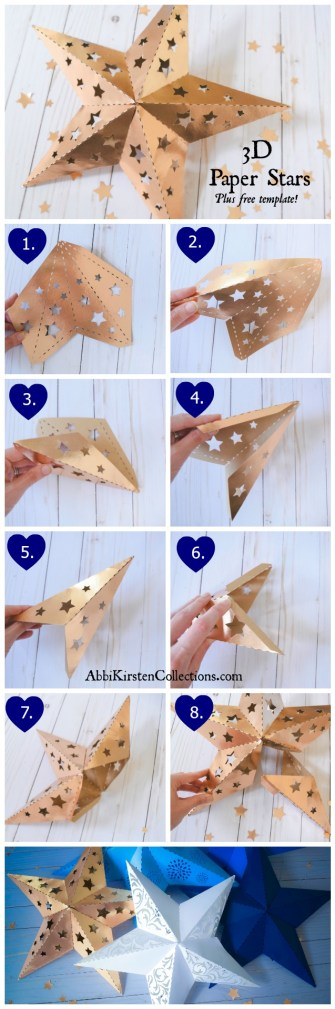 3D Paper Star Template: Paper Star Instructions and Free Template