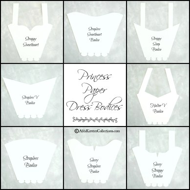 Paper dress bodice templates. By AbbiKirstenCollections.com
