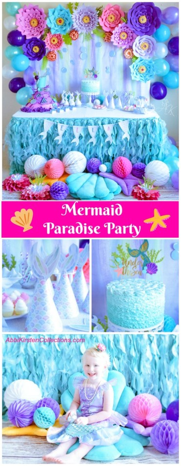 Mermaid Paradise birthday party. Mermaid party ideas. Paper flower wall.