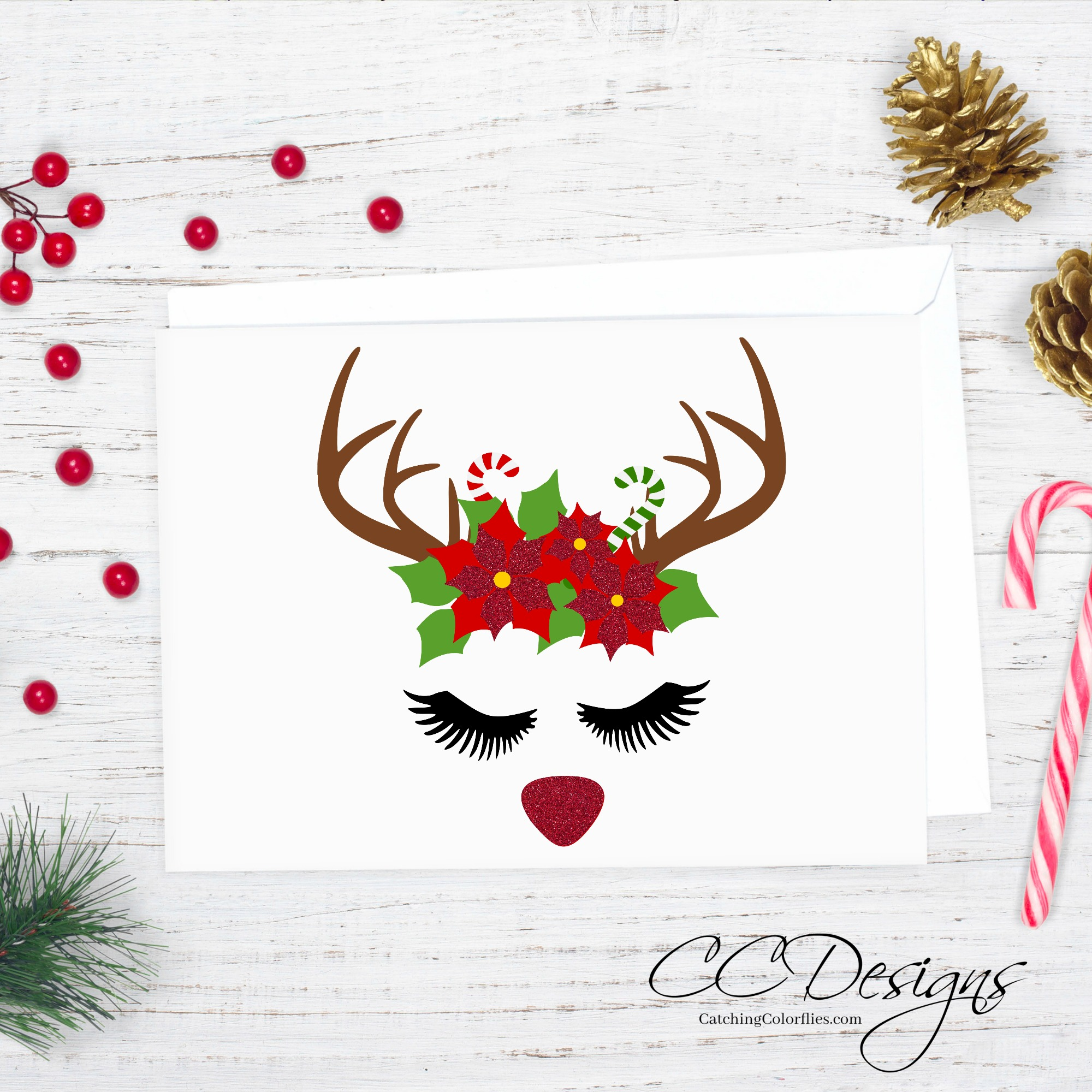 Merry Christmas! Here's a FREE Reindeer Cut File & Poinsettia Template