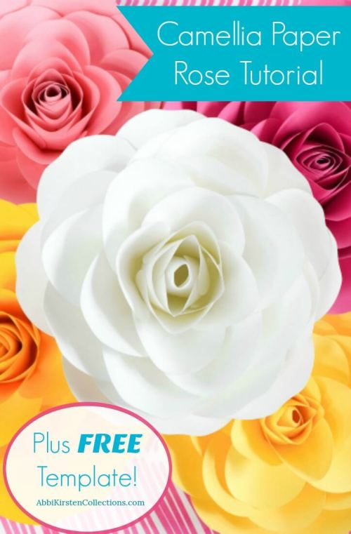 Free large paper rose template diy camellia rose tutorial how to make large paper roses mightylinksfo