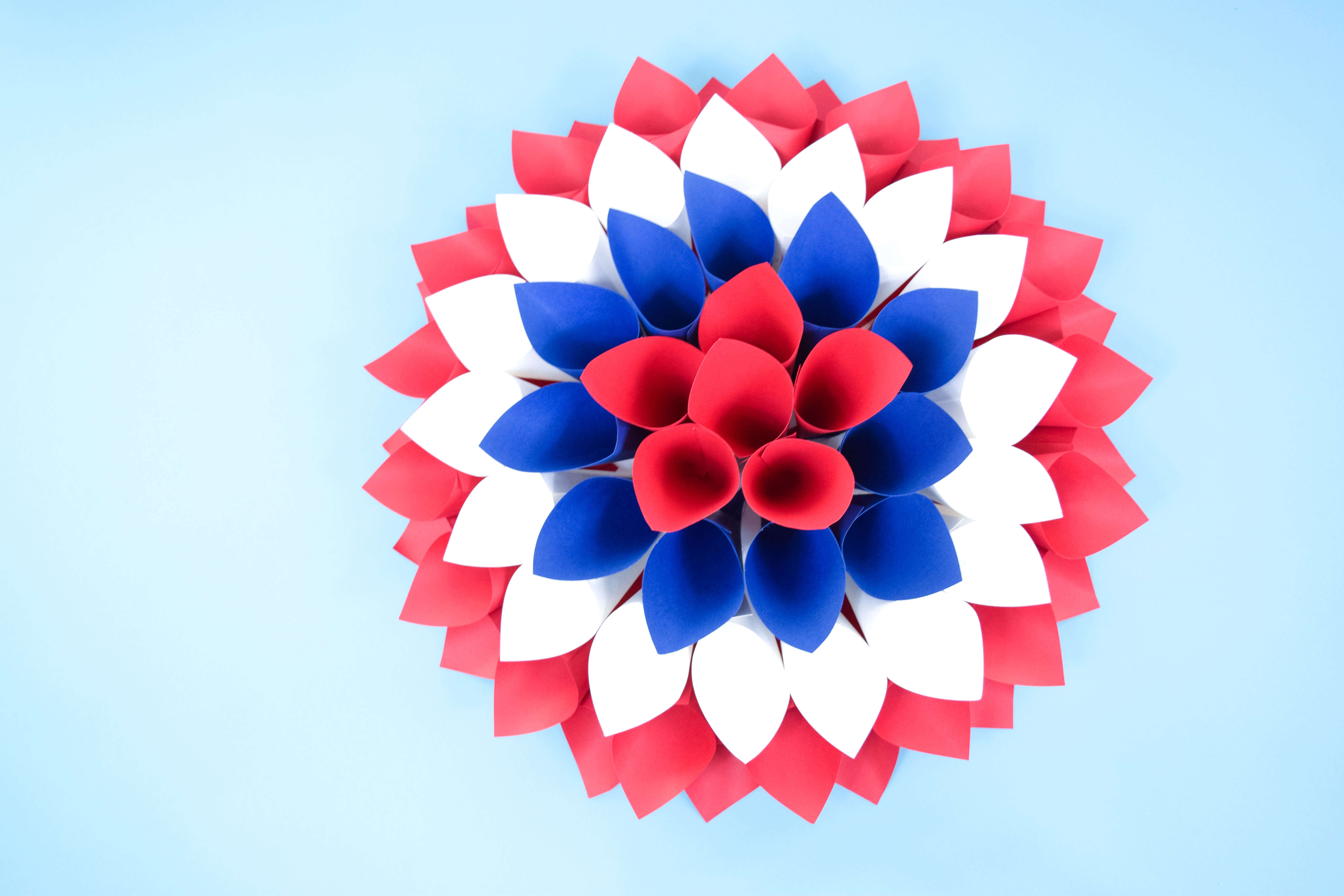 Red, White and Blue Dahlia Paper Wreath