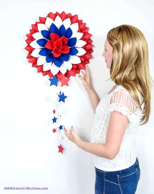 Red, White and Blue Dahlia Paper Wreath: July 4th DIY Decor
