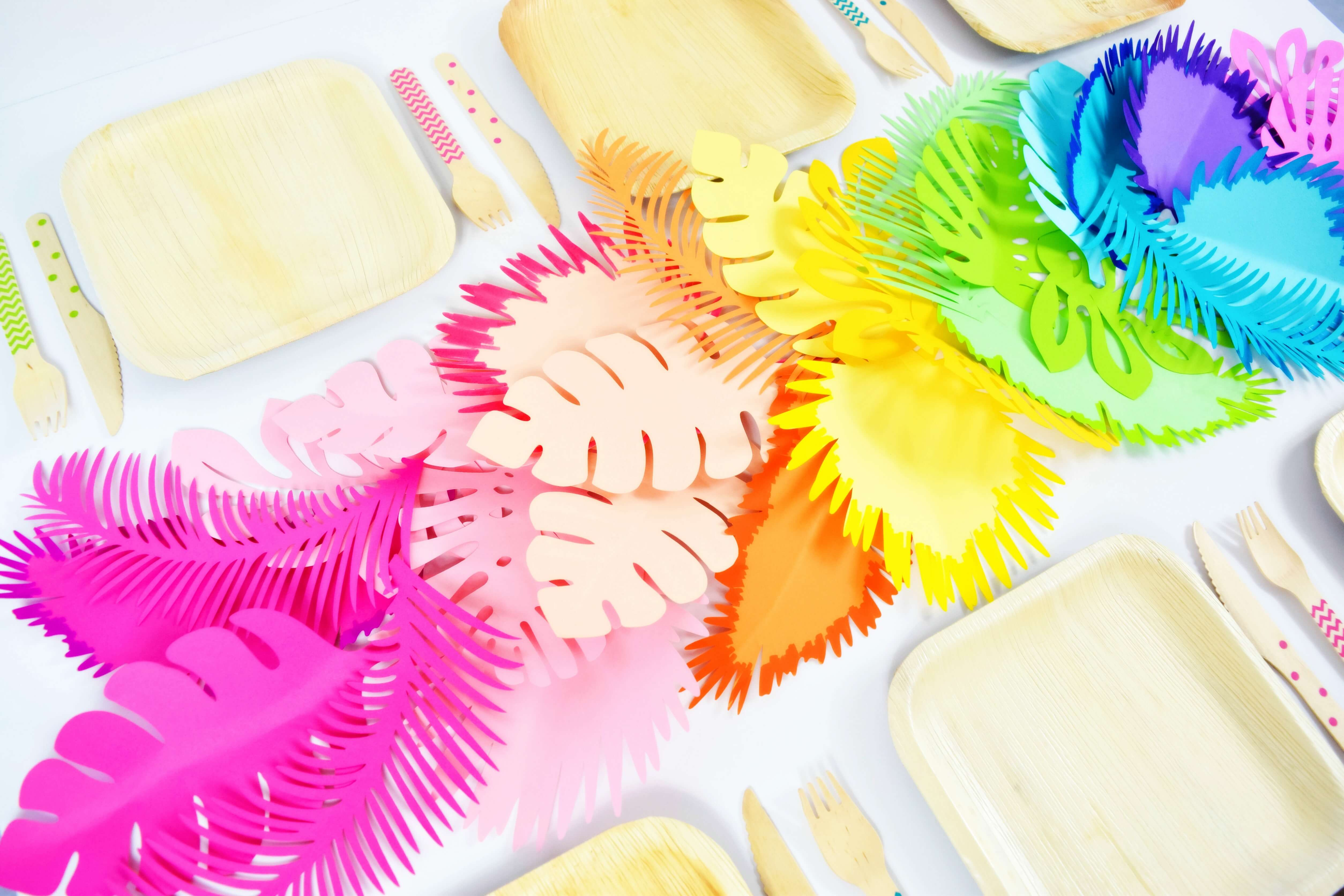 Hawaiian Party Decorations – DIY Ombre Rainbow Paper Flower Table Runner