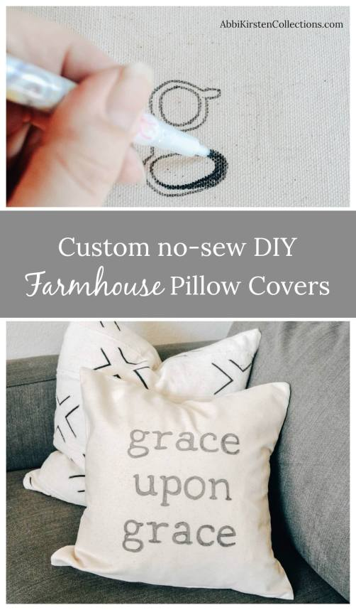 DIY Throw Pillow Covers. How to make your own DIY farmhouse pillow covers. Farmhouse pillow cover tutorial. Grace upon grace pillow cover.