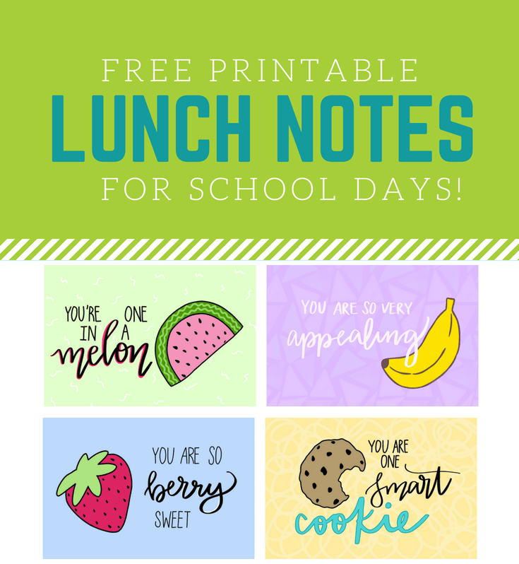 picture about Free Printable Lunchbox Notes identified as Totally free Printable Faculty Lunchbox Notes - Abbi Kirsten Collections