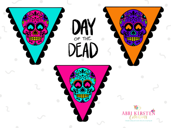 Day of the Dead Sugar Skulls Printable Banner: Download a free sugar skull pendant banner for your Day of the Dead celebration!