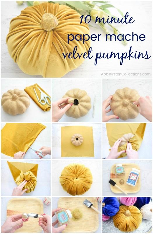 Velvet pumpkin fall decor