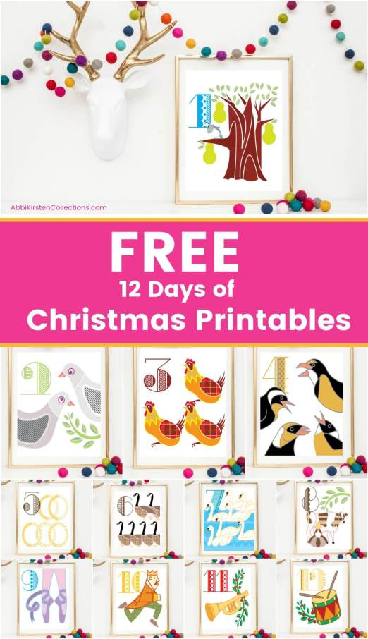 12 Days of Christmas Printables: Free Christmas Printable Wall Art for you home. Deck you halls with these free Christmas wall art printables.