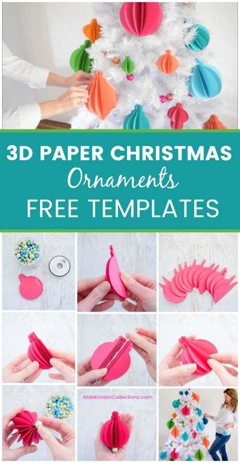 3D Paper Christmas Ornaments: Easy Tree Ornament Templates