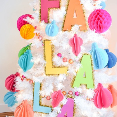 Decorative Tinsel Christmas Tree Letters