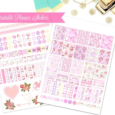 February Planner Stickers: Free Printable Valentine Planner Stickers