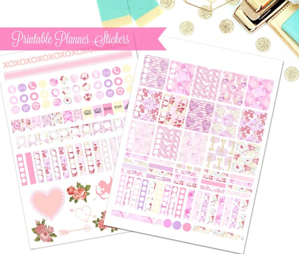 Free printable planner stickers for February.