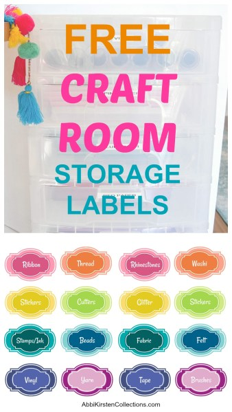 Free craft room printable labels for storage containers