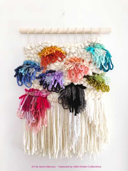colorful macrame wall hangings
