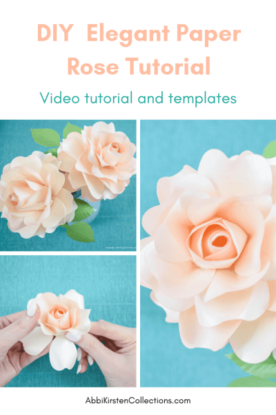 Follow this easy step by step paper rose tutorial. Create your own paper rose flowers for bouquets, arrangements and wreathes. SVG cut files and PDF printables included!