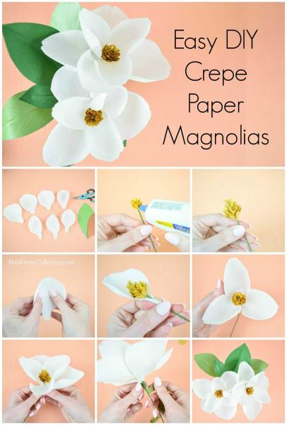 DIY Crepe Paper Magnolia Flowers. SVG cut files and PDF printable templates.