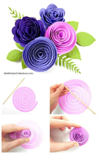 Paper rosette tutorial. Free flower svg and pdf printable template.