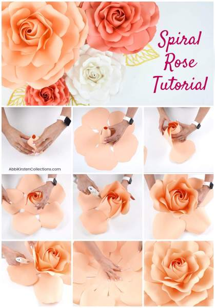 DIY giant paper roses with paper flower printable templates and svg cut files.