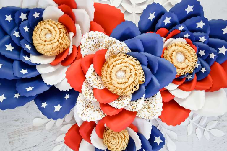 Giant American Flag Swirl Paper Flowers: Easy Tutorial for Making Paper Flowers