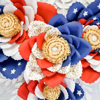 Giant American Flag Swirl Paper Flowers: Easy Tutorial for Making Paper Flowers