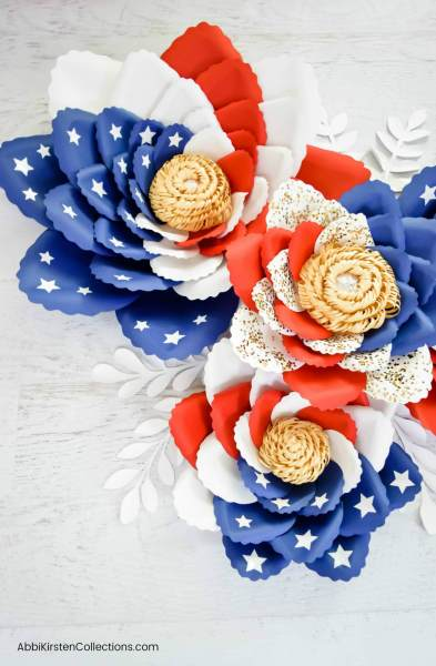 Easy Tutorial for Making Paper Flowers: Giant American Flag Swirl Paper Flowers for July 4th and Memorial Day Craft Deocr.