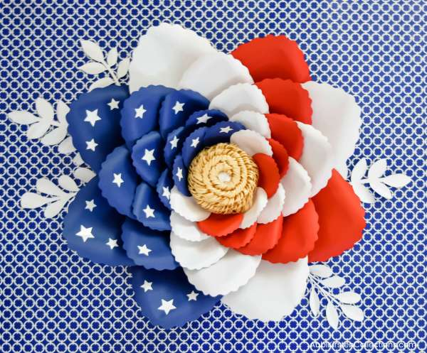 American Flag Swirl Paper Flowers for July 4th and Memorial Day Craft Decor.